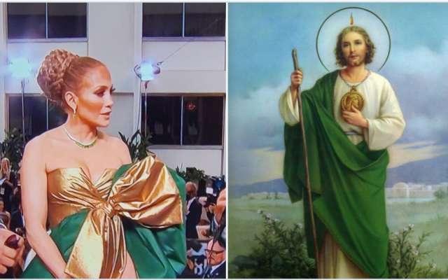 Jennifer Lopez desata ola de memes con su extravagante vestido en los Globos de Oro