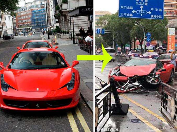 Una mujer destruyó una Ferrari en segundos