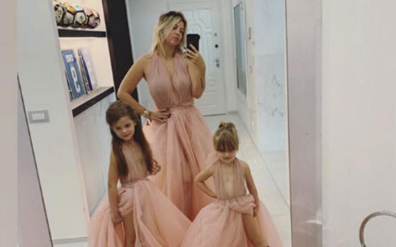 Fuerte polémica por el vestido que Wanda Nara les puso a sus hijas para celebrar un cumpleaños